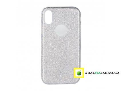 Obal Forcell stříbrný třpytivý na iPhone X/XS