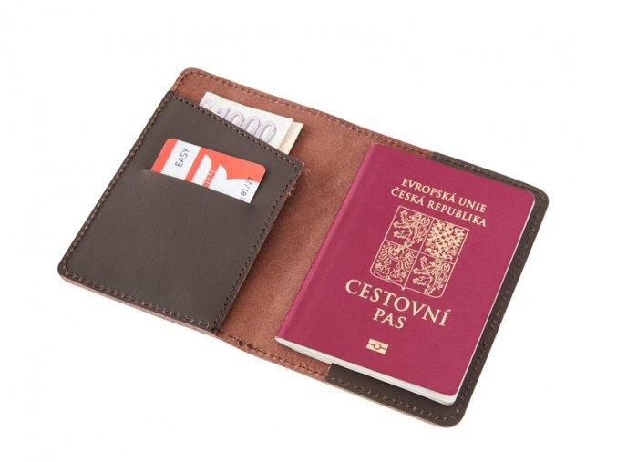 Kozene pouzdro na pas letenku kartu a bankovky D52 2