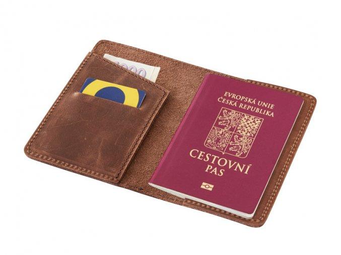 Kozene pouzdro na pas letenku kartu a bankovky D216 2