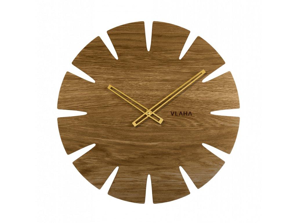 Velké dubové hodiny VLAHA ORIGINAL vyrobené v Čechách se zlatými ručkami