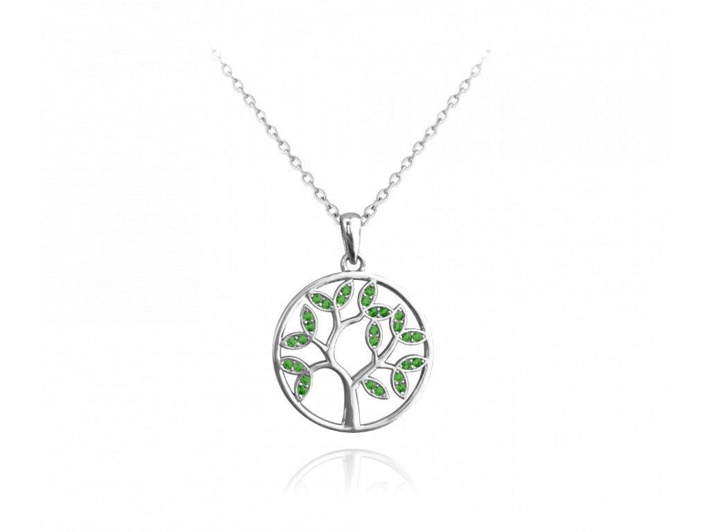 Stříbrný náhrdelník MINET STROM ŽIVOTA s zelenými zirkony