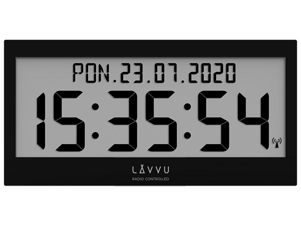 Černé digitální hodiny s češtinou LAVVU MODIG řízené rádiovým signálem