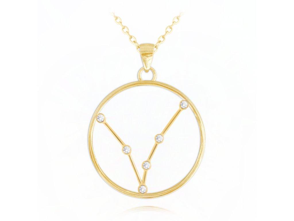 Pozlacený náhrdelník MINET Stars RYBY Czech Crystal