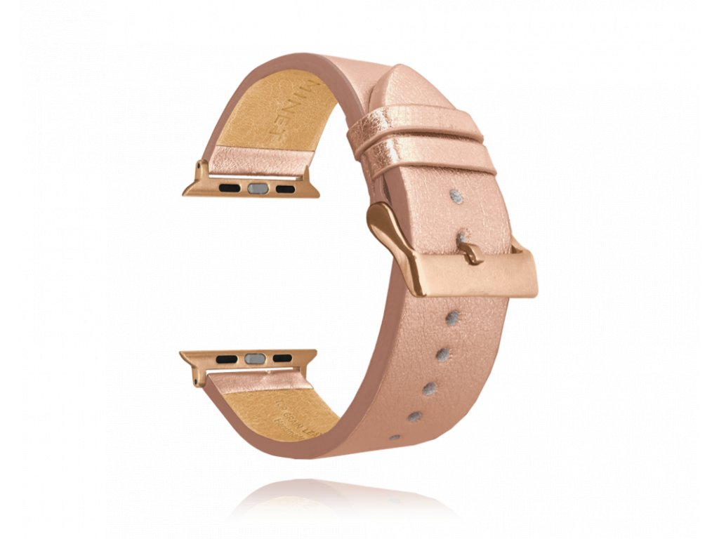 Rose gold kožený řemínek MINET Top Grain pro APPLE WATCH 38-40 mm