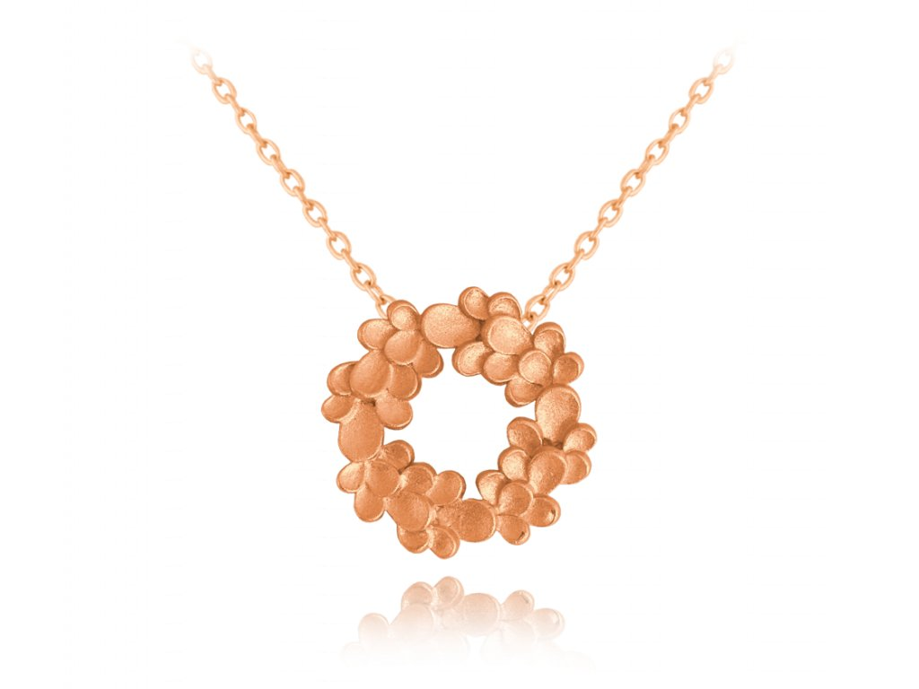 Rose gold matný stříbrný náhrdelník MINET EUCALYPTUS