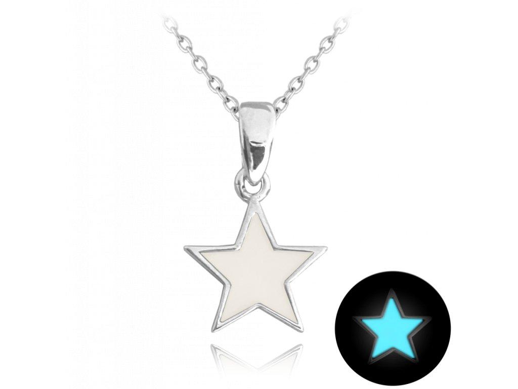 Svítící bílý stříbrný náhrdelník MINET HVĚZDIČKA