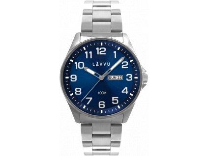 Ocelové pánské hodinky LAVVU BERGEN Blue se svítícími čísly