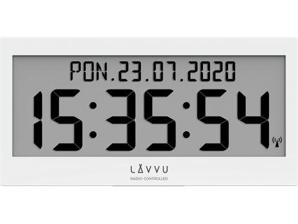 Bílé digitální hodiny s češtinou LAVVU MODIG řízené rádiovým signálem