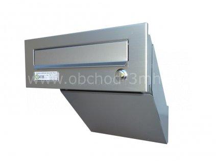 Poštovní schránka  šikmá k zazdění do sloupku ŠEDÁ/NEREZ se zvonkem