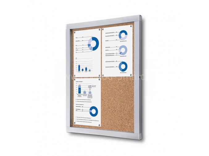 Informační vitrína 4xA4, korková záda