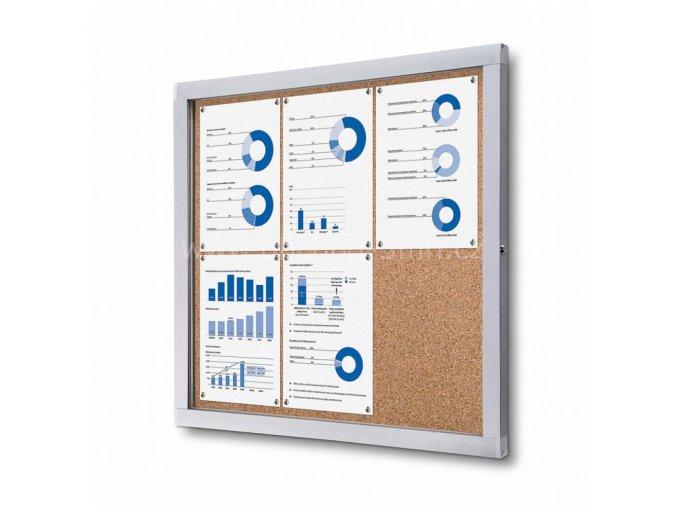 Informační vitrína 6xA4, korková záda