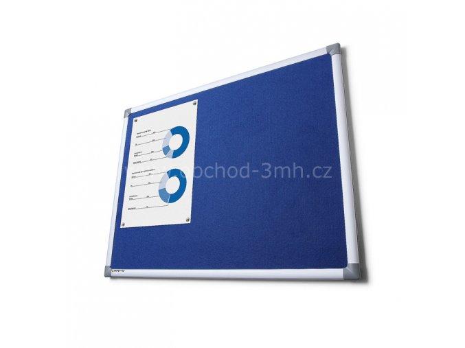 Textilní tabule SCRITTO, modrá, 900x1800mm