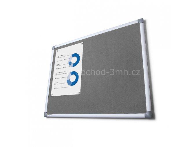 Textilní tabule SCRITTO, šedivá, 900x1200mm