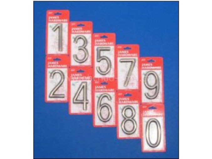 """Číslice na dveře """"4"""" NZ 75mm Ni-broušený"""