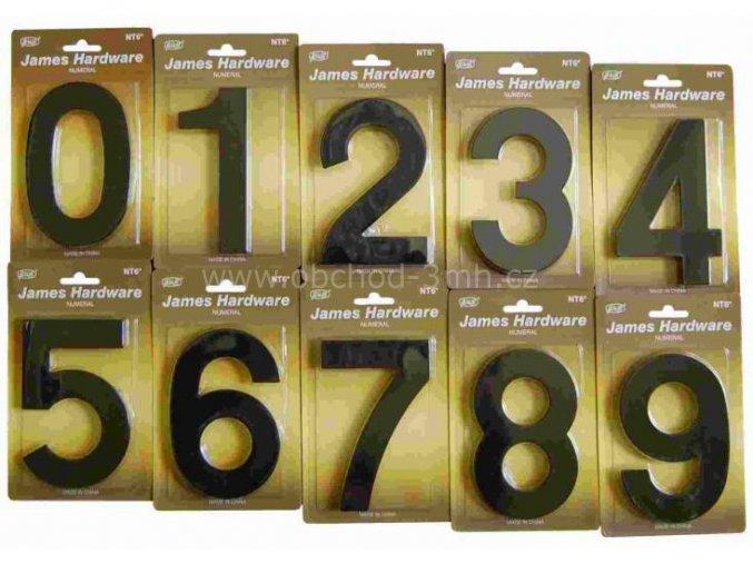 """ČÍSLO DOMOVNÍ """"6"""" 152 MM, FASÁDNÍ, ČERNÁ-MAT"""