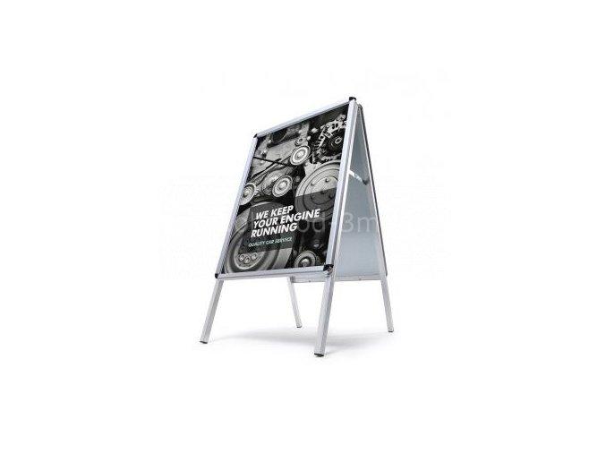 Reklamní áčko A1, oblý roh, profil 32mm, metalová záda, zvýšená odolnost profi vlivům počasí