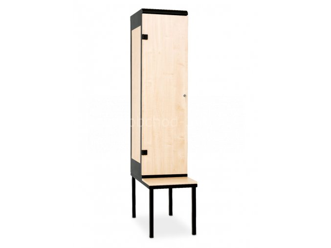 Šatní skříňka 1-dveřová s lavičkou, 1970 x 420 x 780 mm - lamino/kov