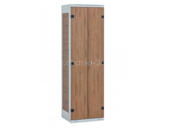Šatní skříňka 2-dveřová, 1750 x 600 x 500 mm - lamino/kov