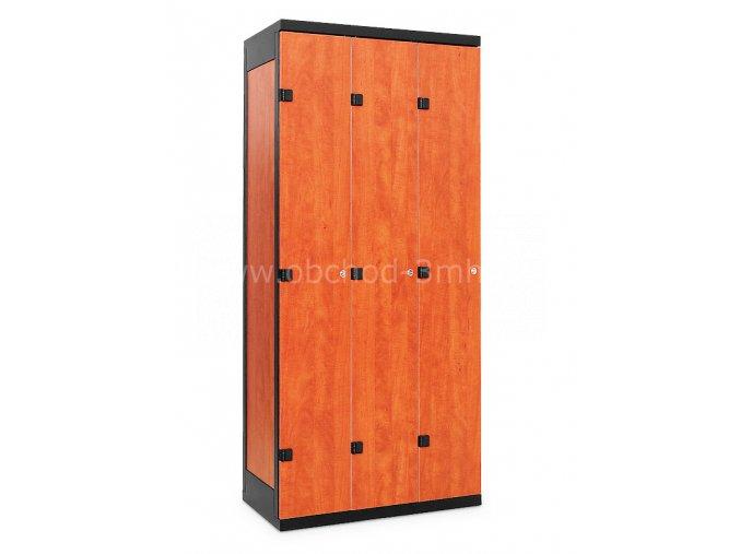 Šatní skříň 3-dveřová, 1970 x 900 x 500 mm - lamino/kov
