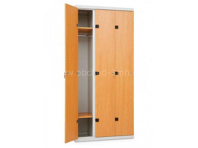 Šatní skříňka 3-dveřová, 1750 x 900 x 500 mm - lamino/kov