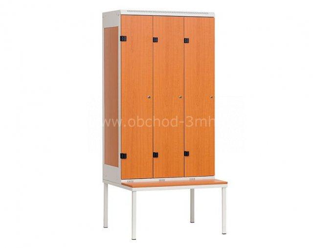 Šatní skříň 3-dveřová s lavičkou, 2195 x 900 x 780 mm - lamino/kov