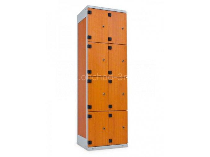 Šatní skříň 8-boxová, 1970 x 600 x 500 mm - lamino/kov