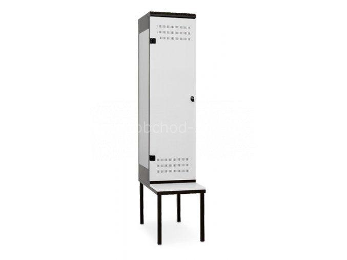 Šatní skříňka 1-dveřová s lavičkou, 1970 x 420 x 780 mm - kovová