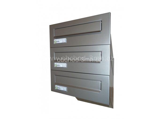 Poštovní schránka  šikmá k zazdění do sloupku NEREZ 3x