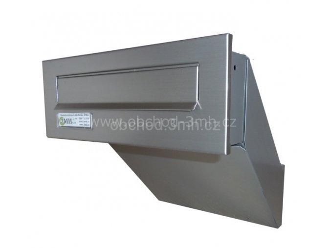 Poštovní schránka  šikmá k zazdění do sloupku ŠEDÁ/NEREZ
