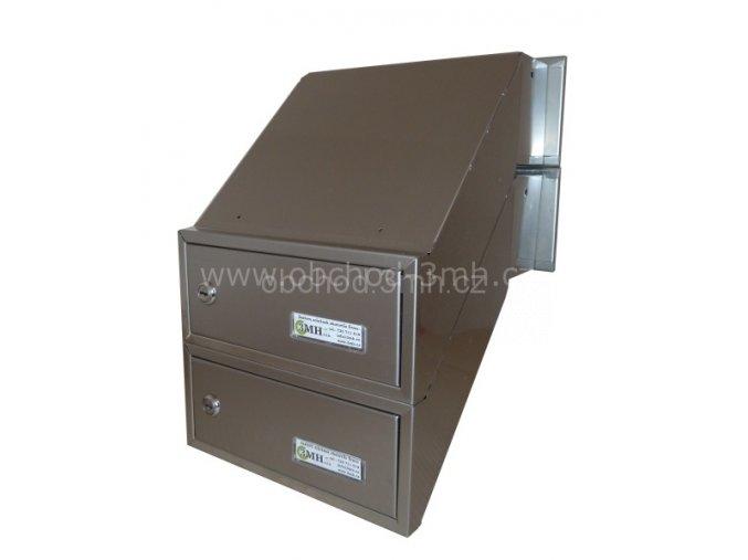 Poštovní schránka  šikmá k zazdění do sloupku ŠEDÁ/NEREZ 2x