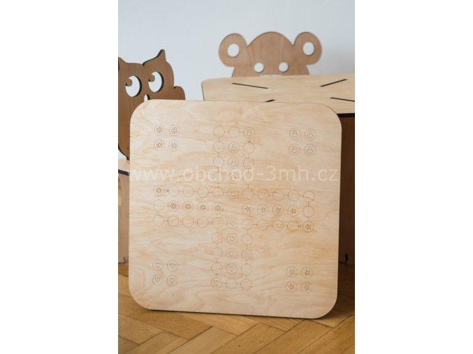 Horní dřevěná deska ke stolku - Člověče nezlob se!