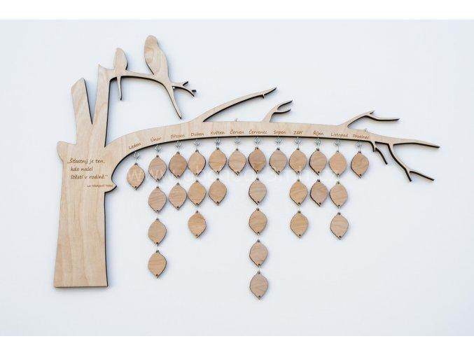 Nástěnný kalendář narozenin dřevěný - STROM MALÝ