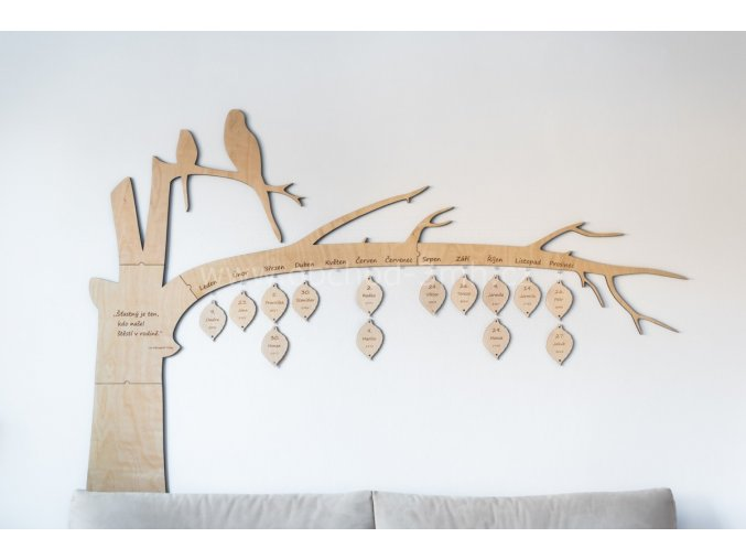 Nástěnný kalendář narozenin dřevěný- STROM VELKÝ