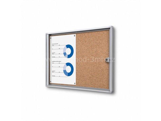 Interiérová vitrína Economy 2xA4 - korková záda