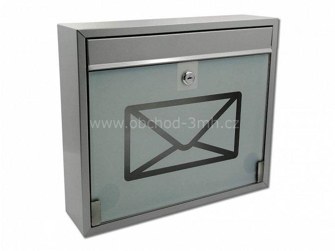 Poštovní schránka KVIDO-ŠEDÁ se sklem