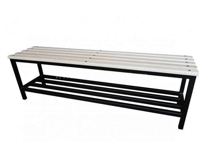 Šatní lavice KLASIK-15, 450 x 1500 x 350 mm - dřevěné latě/kov