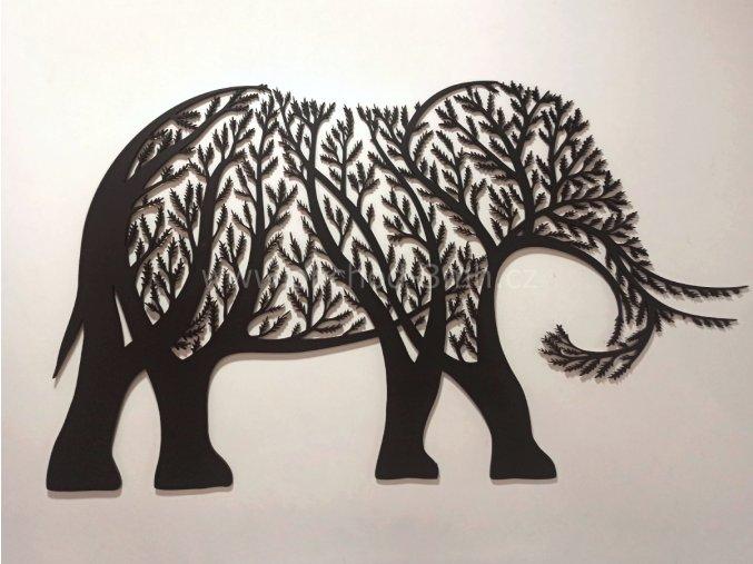 Dřevěný obraz - stromový SLON - BAREVNĚ LAKOVANÝ