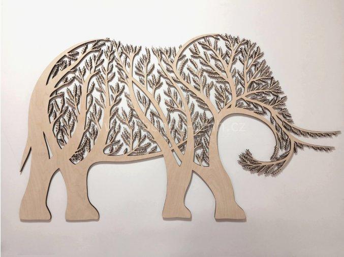 Dřevěný obraz - stromový SLON