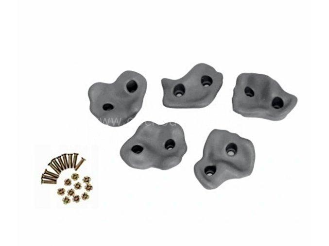 Lezecké úchyty (kameny), šedé - plastové, sada 5ks