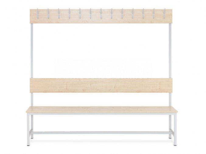 Šatní lavice s věšáky jednostranná, 1800 x 2000 x 430 mm - lamino/kov