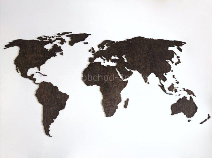 Nástěnná dřevěná MAPA SVĚTA - mořenáeben 1