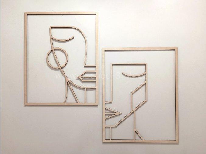 Dřevěný obraz dvojdílný - MUŽ A ŽENA