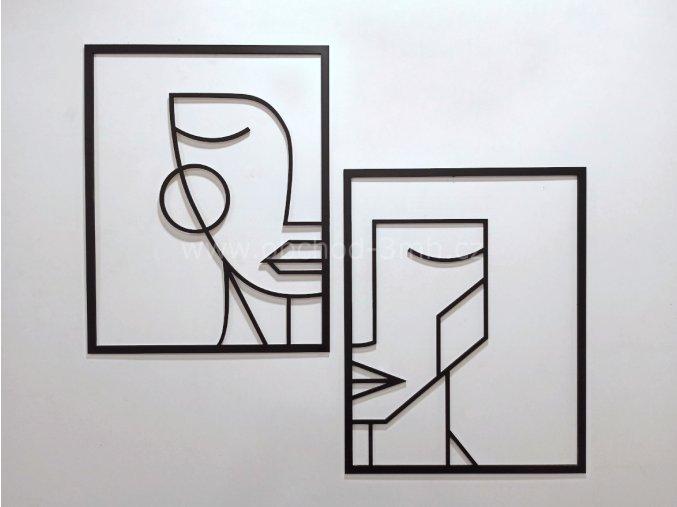 Dřevěný obraz dvojdílný - MUŽ A ŽENA - BAREVNĚ LAKOVANÝ
