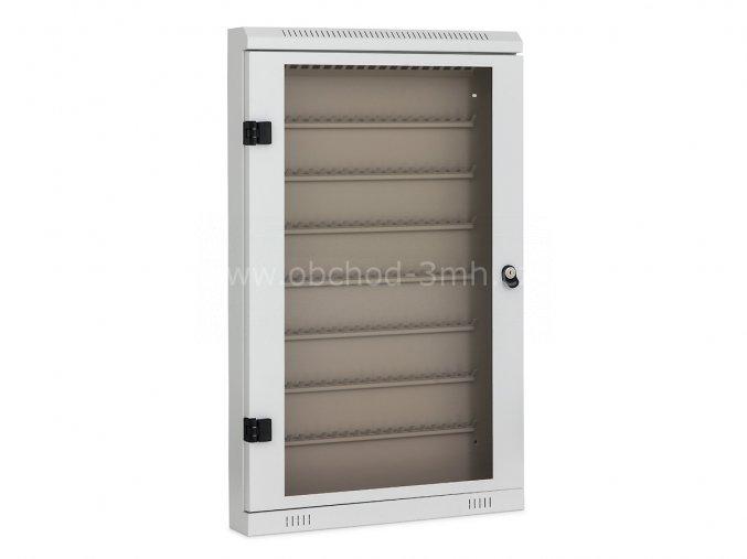 Prosklená skříňka na klíče TSK160, 160 háčků, světle šedá