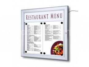 Venkovní uzamykatelná světelná menu vitrína 2xA4