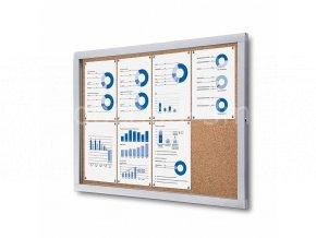 Informační vitrína 8xA4, korková záda
