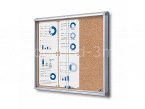 Interiérová vitrína 6xA4, posuvné dveře, korková záda