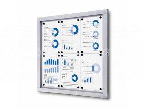 Informační vitrína 6xA4, plechová záda