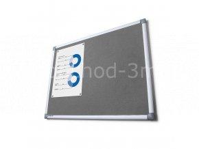 Textilní tabule SCRITTO, šedivá, 900x1800mm