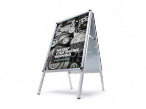 Reklamní áčko A0, ostrý roh, profil 32mm, metalová záda, zvýšená odolnost profi vlivům počasí